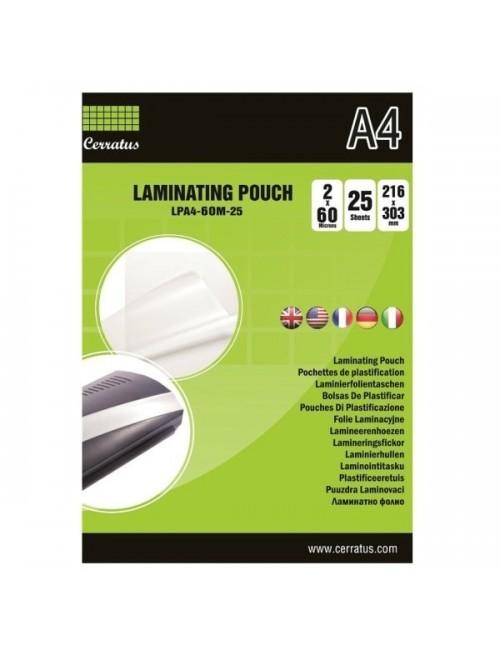 Cerratus Διαφάνειες Πλαστικοποίησης Α4 60 mic 25 pcs