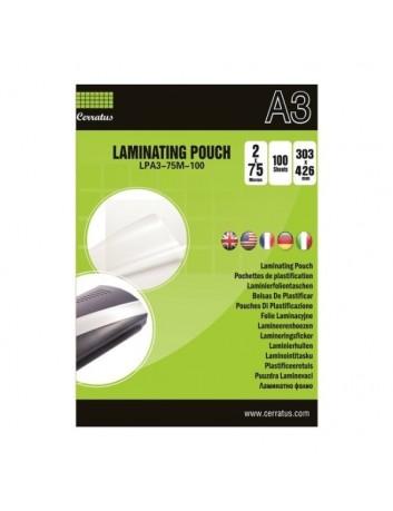 Cerratus Διαφάνειες, Ζελατίνες,Φύλλα Πλαστικοποίησης Α3 75 mic 100 pcs