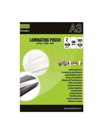 Cerratus Διαφάνειες,Ζελατίνες, Φύλλα Πλαστικοποίησης Α3 80 mic 25 pcs